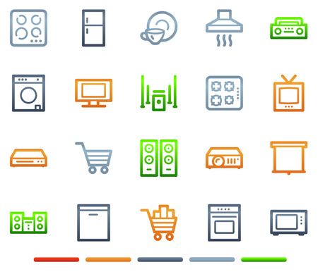 Home appliances web icons, colour symbols series Stock Vector - 5656887