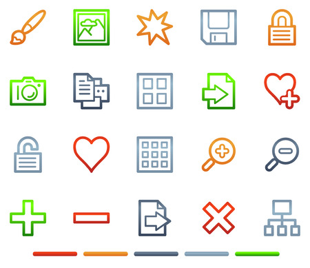 Image library web icons, colour symbols series Vector