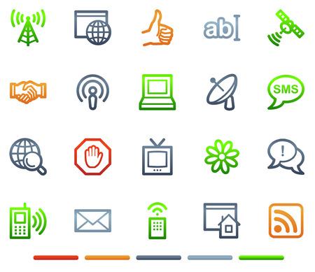 Iconos web en Internet de comunicación, el color símbolos serie Ilustración de vector