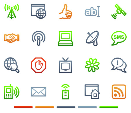 Internet communication web icons, colour symbols series Vector
