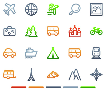 Travel web icons, colour symbols series Vector