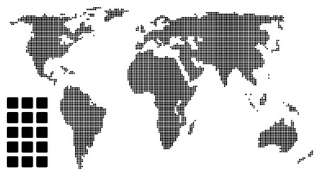 east europe: Dotted world map (pixel) Illustration