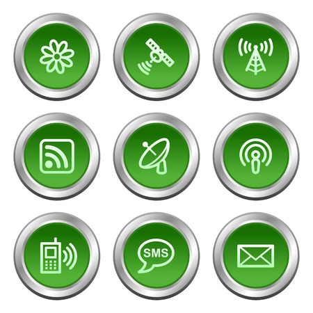 Communication web icons, green circle buttons series Stock Vector - 5657008