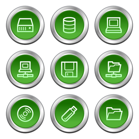 fdd: Drives and storage web icons, green circle buttons series