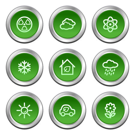Ecology web icons set 2, green circle buttons series Stock Vector - 5657005