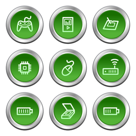 wacom: Electronics web icons set 2, green circle buttons series Illustration