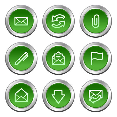 E-mail web icons, green circle buttons series Stock Vector - 5657165
