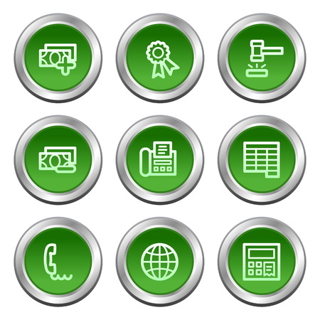 Finance web icons set 2, green circle buttons series Vector