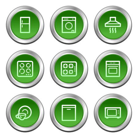 Home appliances web icons, green circle buttons series Stock Vector - 5657086