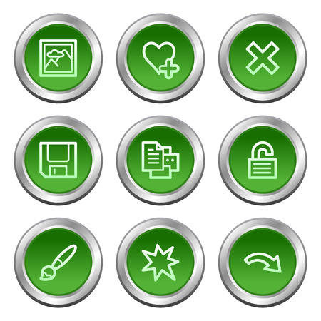 Image viewer web icons set 2, green circle buttons series Stock Vector - 5657074