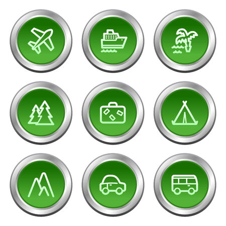 Travel web icons, green circle buttons series Vector