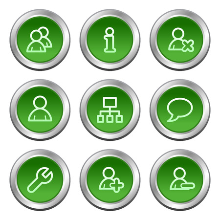 Users web icons, green circle buttons series Stock Vector - 5657071