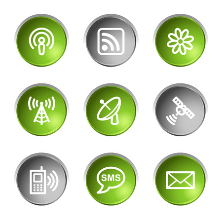 Communication web icons, green and grey circle buttons series Vector