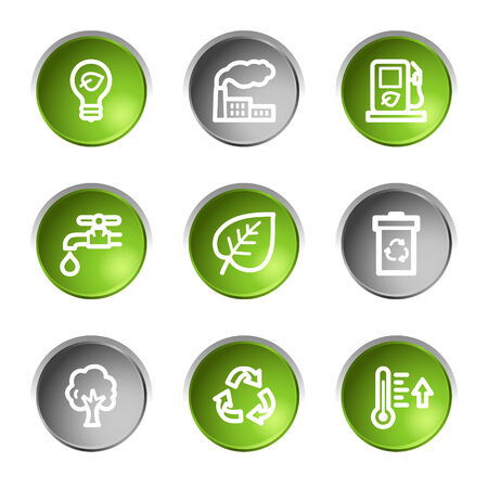 gray bulb: Ecology web icons, green and grey circle buttons series