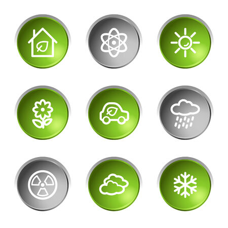 Ecology web icons set 2, green and grey circle buttons series Stock Vector - 5656912