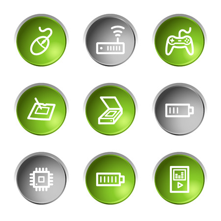 Electronics web icons set 2, green and grey circle buttons series Stock Vector - 5656951