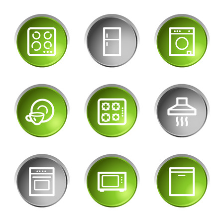 Home appliances web icons, green and grey circle buttons series Stock Vector - 5656954