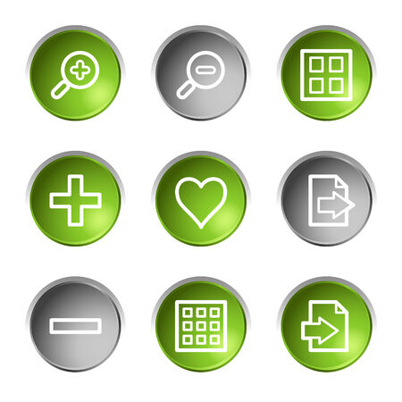Image viewer web icons, green and grey circle buttons series Stock Vector - 5657050