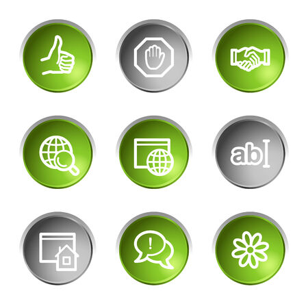Internet communication web icons, green and grey circle buttons series Stock Vector - 5656917