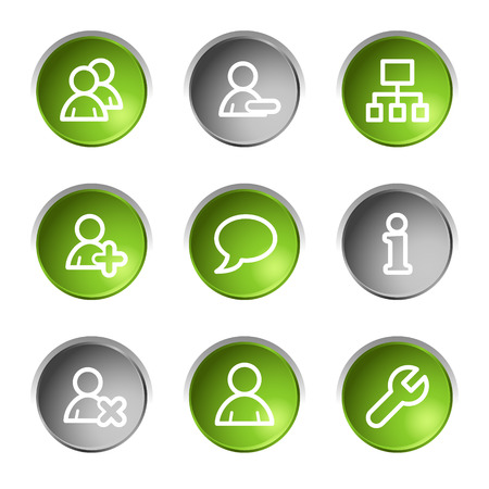 Users web icons, green and grey circle buttons series Stock Vector - 5656927