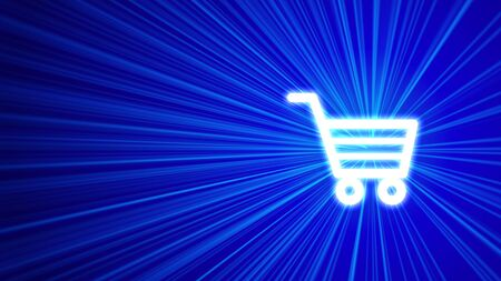 carts: 3D blue background with shopping cart icon Stock Photo