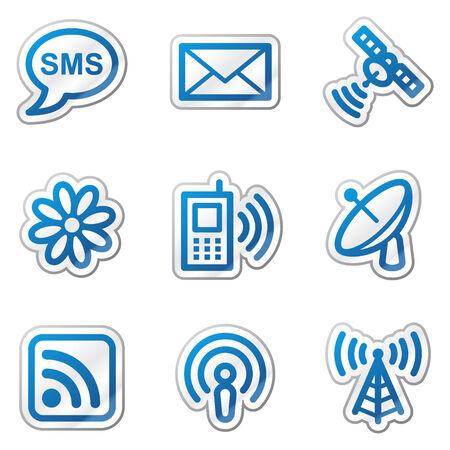 Communication web icons, blue contour sticker series Stock Vector - 5847134