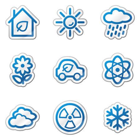 Ecology web icons set 2, blue contour sticker series Vector