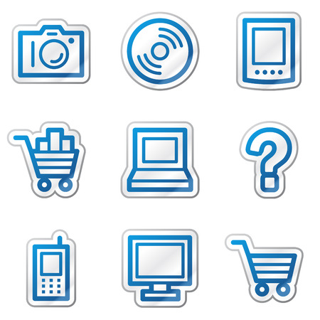 Electronics web icons, blue contour sticker series Stock Vector - 5847111