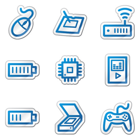 Electronics web icons set 2, blue contour sticker series Stock Vector - 5847130