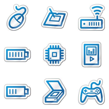 Electronics web icons set 2, blue contour sticker series Vector