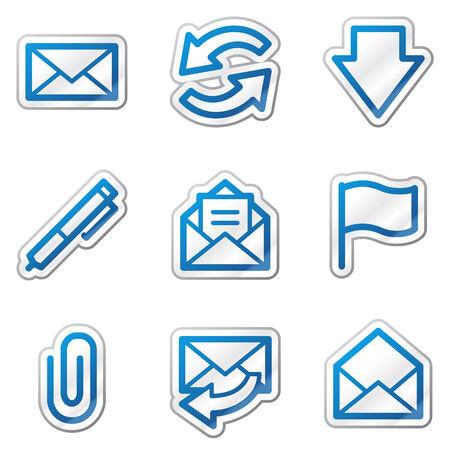 webmail: E-mail web icons, blue contour sticker series Illustration