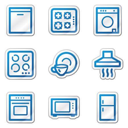 Home appliances web icons, blue contour sticker series Vector