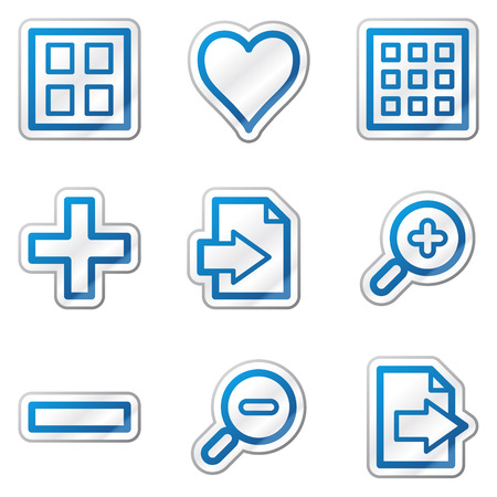 preview: Image viewer web icons, blue contour sticker series Illustration