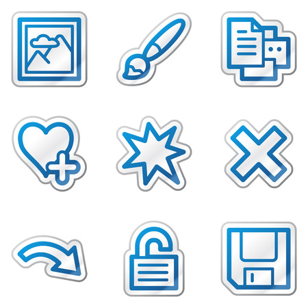 and viewer: Image viewer web icons set 2, blue contour sticker series