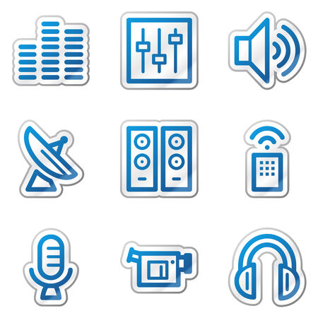 Media web icons, blue contour sticker series Stock Vector - 5847127