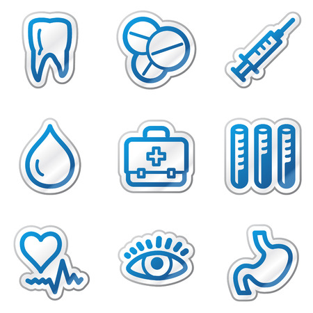 oculist: Medicine web icons, blue contour sticker series