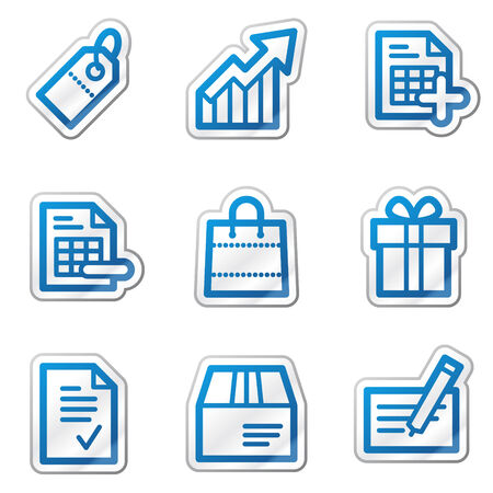 Shopping web icons, blue contour sticker series Vector