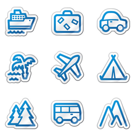 air liner: Travel web icons, blue contour sticker series