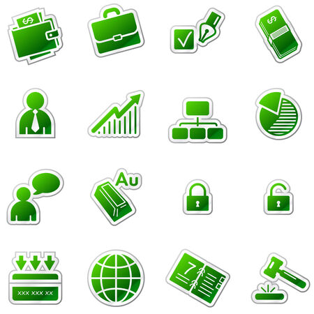 Business web icons, green sticker series Stock Vector - 5920952