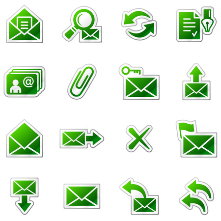 webmail: E-mail web icons, green sticker series Illustration
