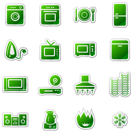 Home appliances web icons, green sticker series Stock Vector - 5920953