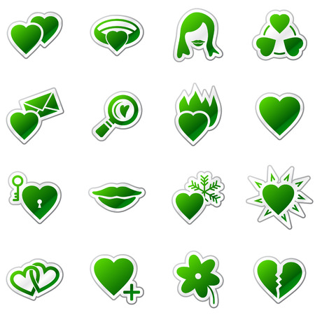 Love web icons, green sticker series Stock Vector - 5920951