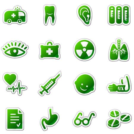 Medicine web icons, green sticker series Stock Vector - 5920950