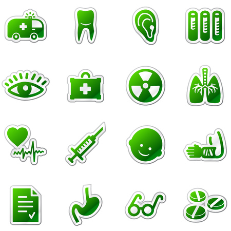 Medicine web icons, green sticker series Stock Vector - 5920950