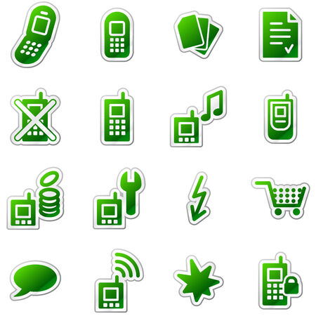 Mobile phone web icons, green sticker series Vector