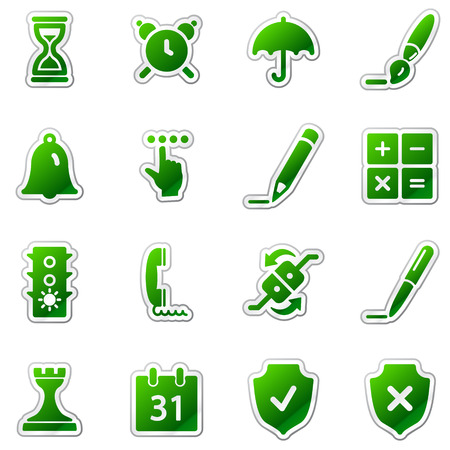 Software web icons, green sticker series Vector