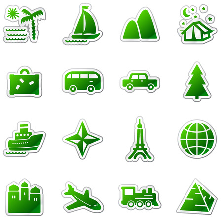 pyramid of the sun: Travel web icons, green sticker series