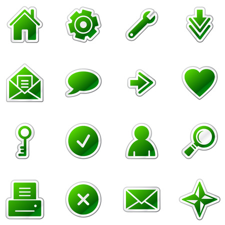 basics: Web web icons, green sticker series