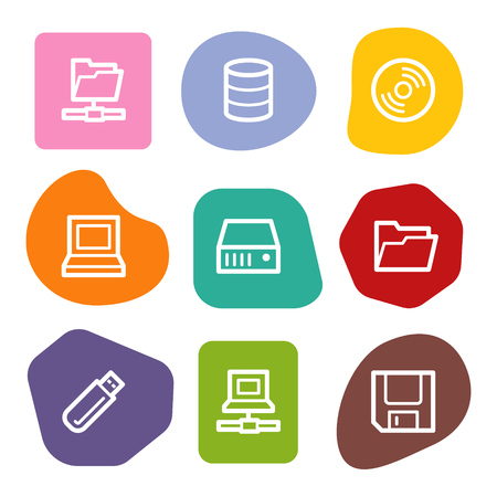 fdd: Drives and storage web icons, colour spots series