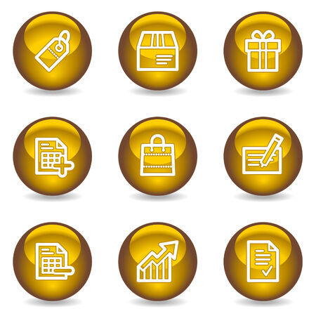 Shopping web icons, gold glossy series Stock Vector - 6046834